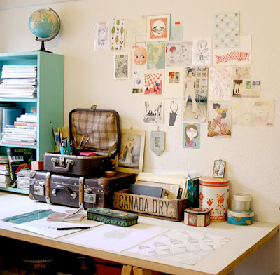 desk DIY   Vintage Luggage Inspiration