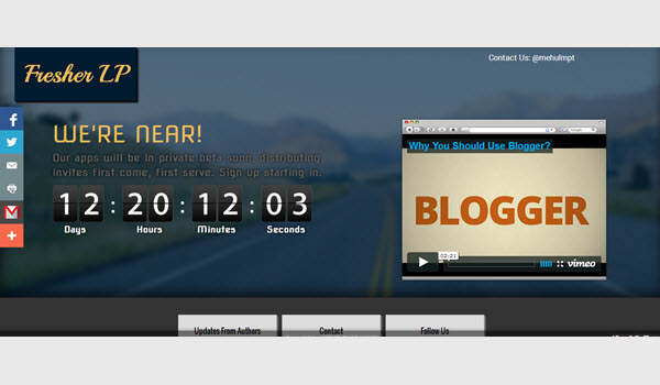 Fresher landing page blogger template