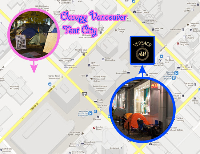 Google map, Google map of Pacific Centre Core, Pacfic Centre, Vancouver Art Gallery, Tent city comparison