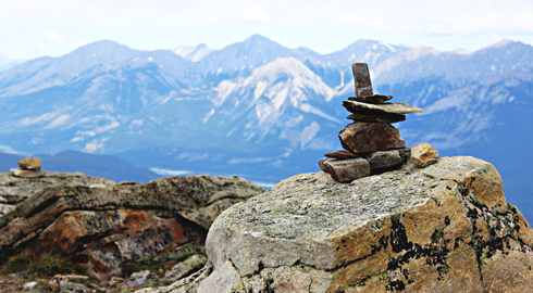 stacked rocks alberta rocky mountains travel photography