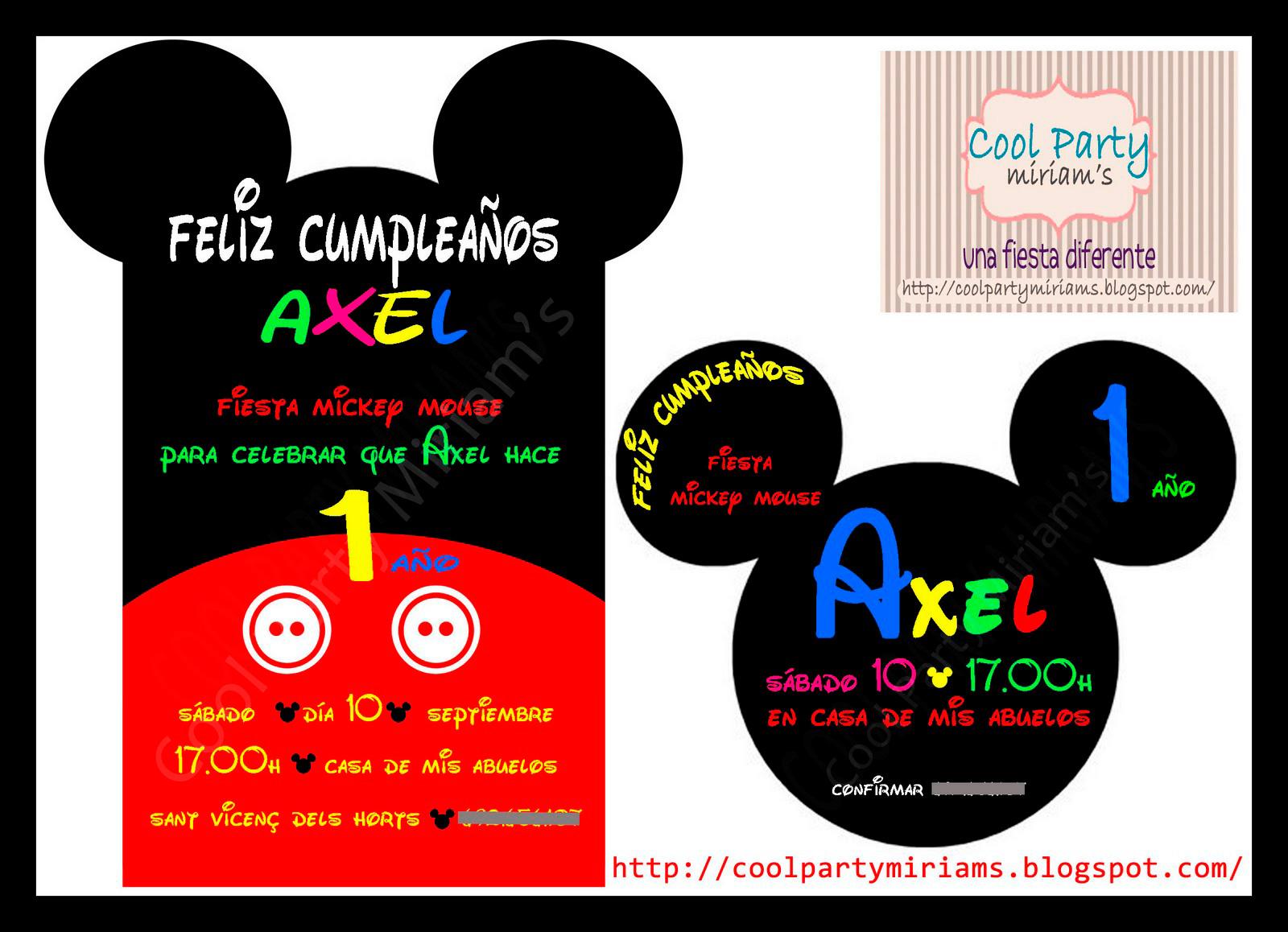 """Invitación cumpleaños """"Mickey Mouse"""""""