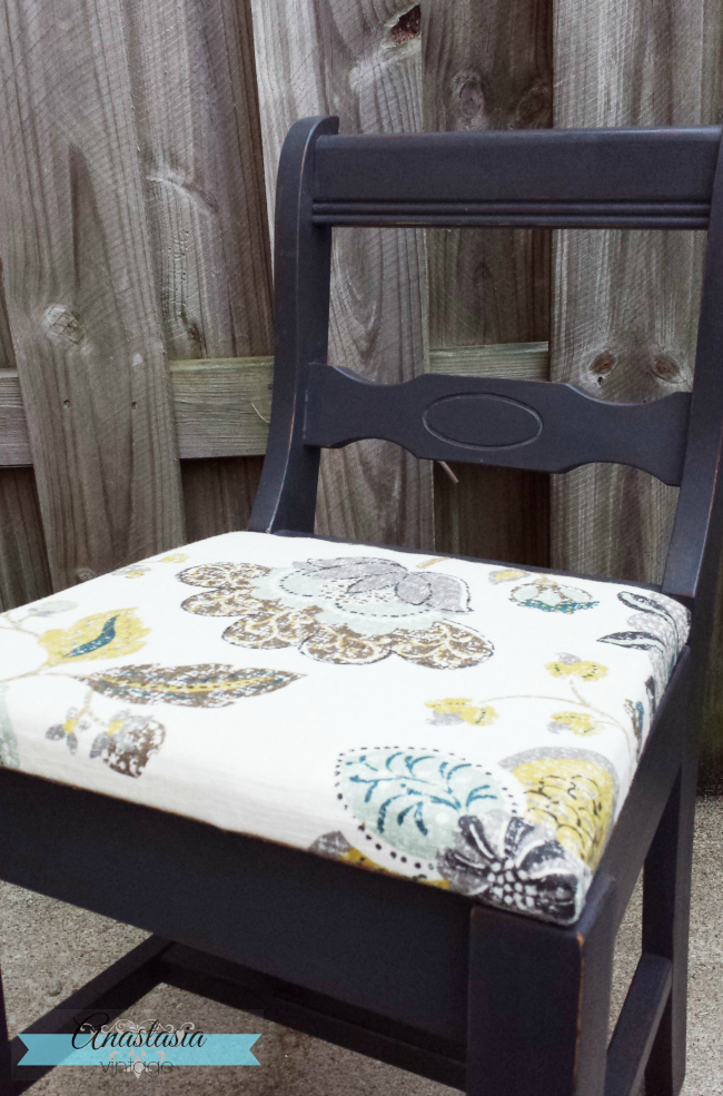 painted annie sloan graphite chair upholstered charcoal grey
