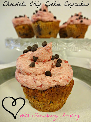 Grain-Free Chocolate Chip Cookie Cupcakes With Strawberry Frosting