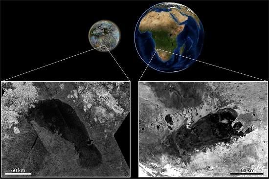 """Lua de Saturno tem """"primo"""" de lago africano"""