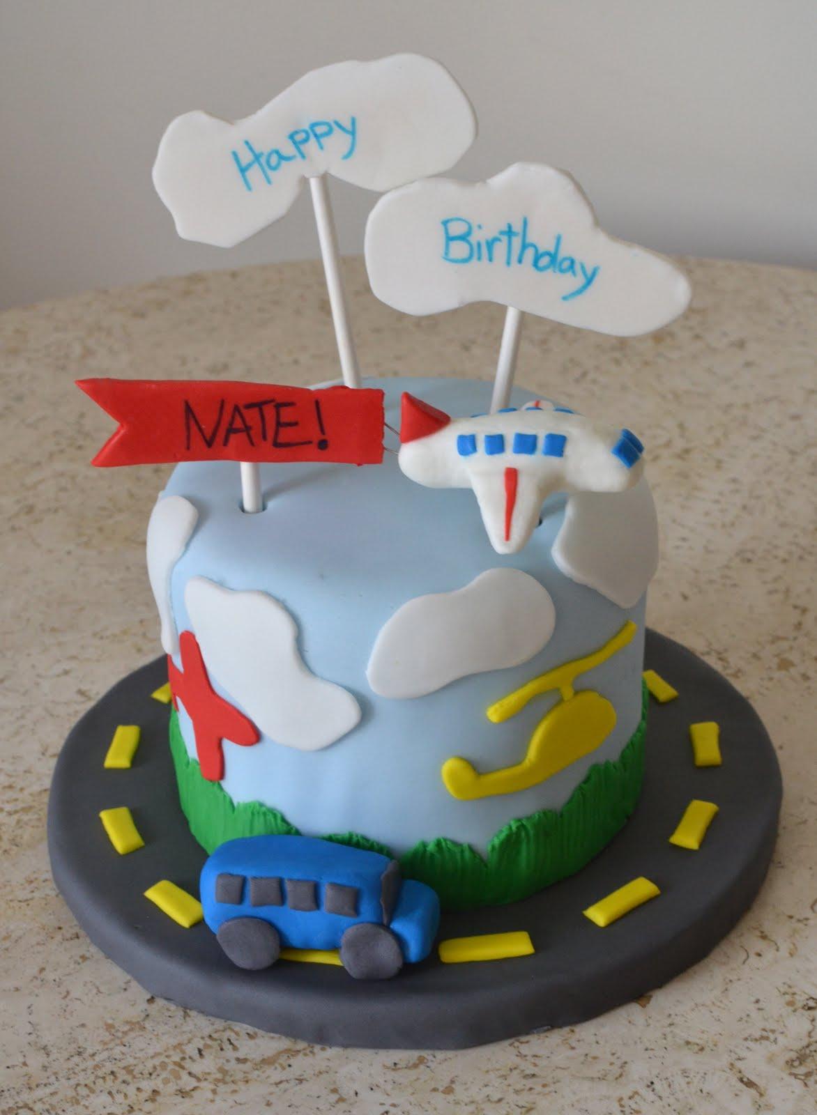 Emilys Custom Bakeshop Nates Airplane Cake and Cupcakes