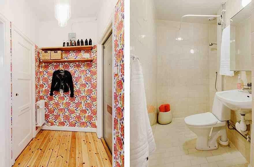 Aranżacja przedpokoju i łazienki w skandynawskim stylu