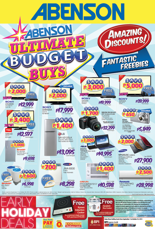 Abenson ultimate budget buy promo discounts on gadgets for Furniture deals philippines