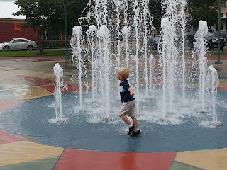Playing in the fountains!