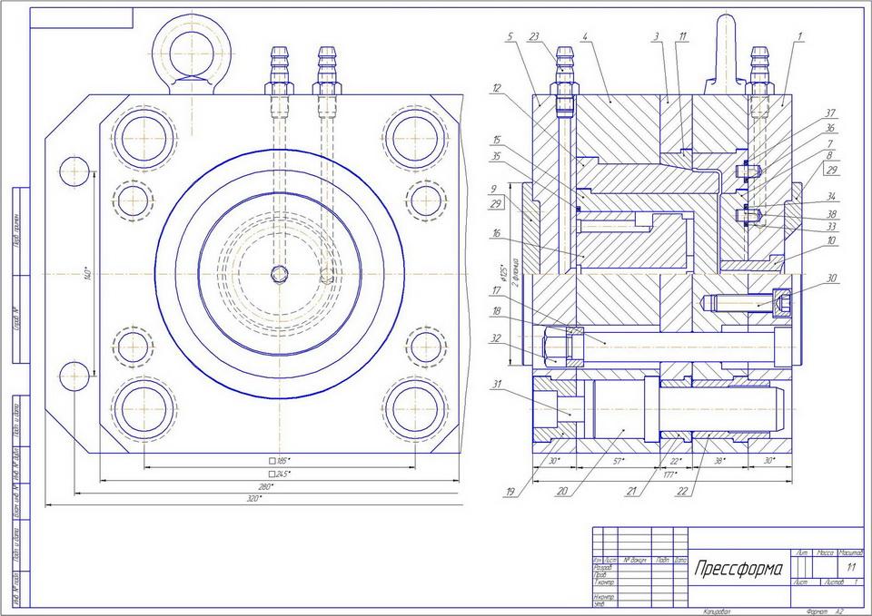 Пресс форма для технопланктона чертеж