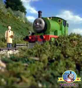 Steam loco Percy the train engine lovely Sodor valley railway view tall weeping willow gorge trees