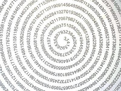 Две спирали число Пи. Число Пи записано в виде бесконечной спирали. Фото креатив.