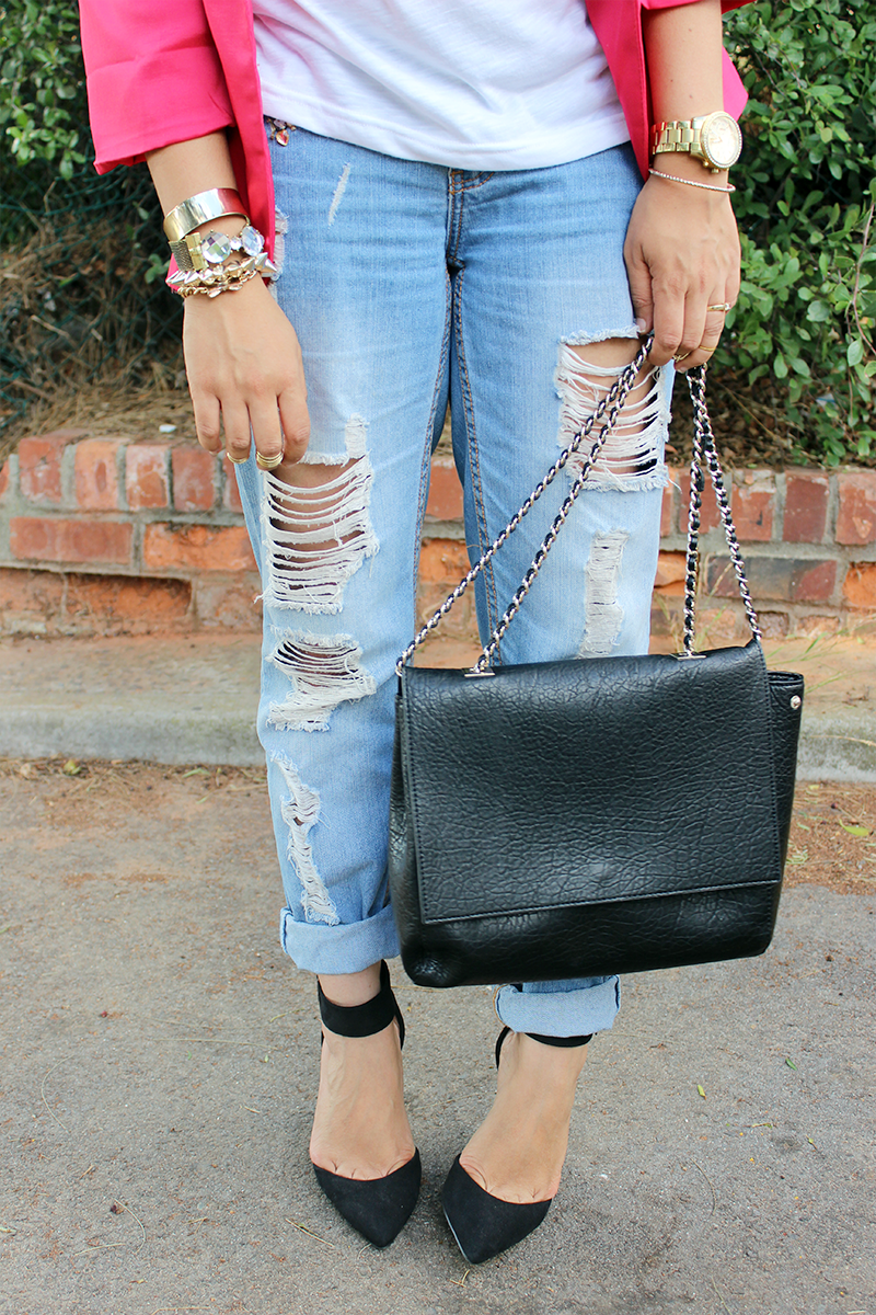 pink blazer, statement t shirt, fashion fades, style is eternal, ripped jeans, ripped boyfriend jeans, ootd, black ankle strap heels, zara chain bag, gold arm party, long ombre hair, ombre hair curls, fashion blogger, cape town