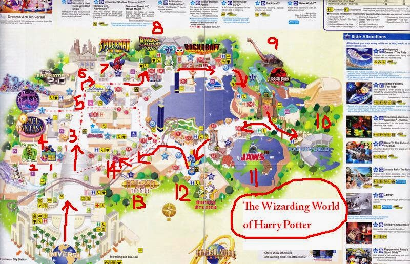 Potato queen travel and lifestyle japan universal studios japan so here is the map with the stops that we went the wizarding world of harry potter was still under construction at that time so if you plan to go now you gumiabroncs Choice Image