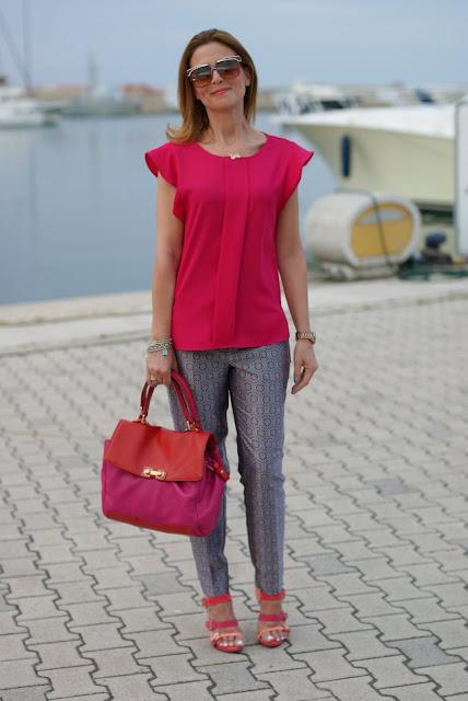 Zara fuchsia top, Asos geo print trousers, Cesare Paciotti sandals, Fashion and Cookies