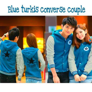 Jaket Blue Turkis Converse Couple, Kode 437