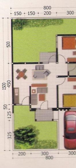 contoh denah rumah minimalis type 53/120