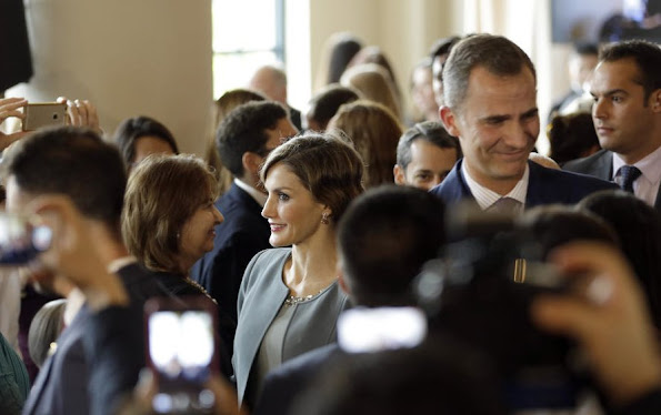 King Felipe of Spain and Queen Letizia of Spain are seen at the Miami-Dade College Presidential Medal presentation at the Freedom Tower