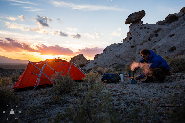 Camping and cooking in Nevada's Basin and Range National Monument.