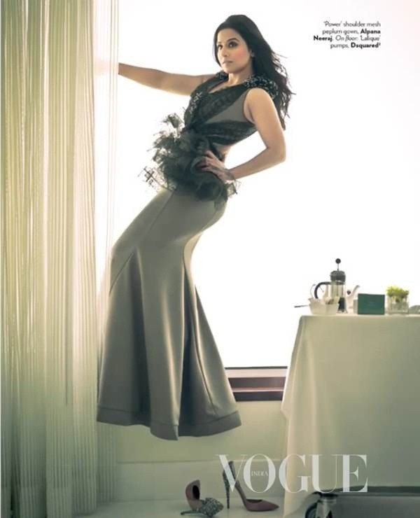 Vidya Balan poses for Vogue India January 2013