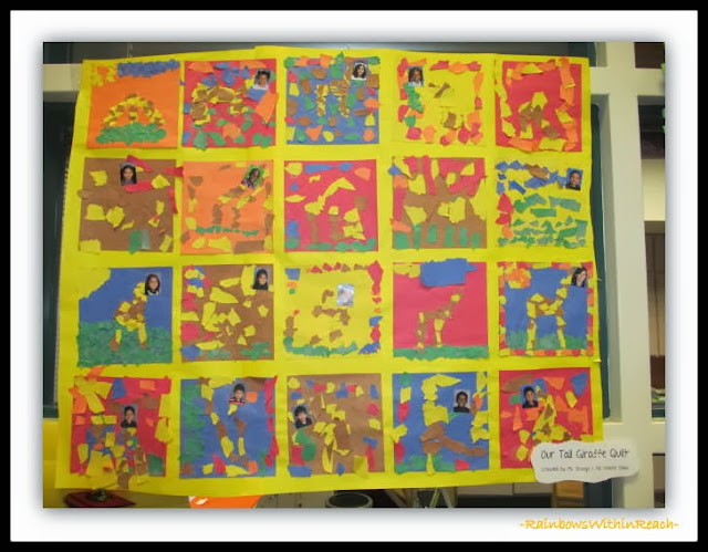 """Torn Paper Quilt Collaboration for """"Tall Giraffe"""" by Debbie Clement"""