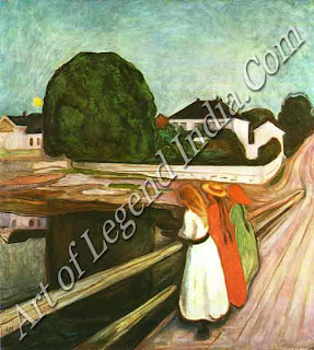 Girls on the jetty (1899), Munch repeated this composition numerous times in various mediums. In it he evokes the quiet mood of a clear mid-summer night, using subtle shades which contrast with the brightly coloured figures on the jetty.