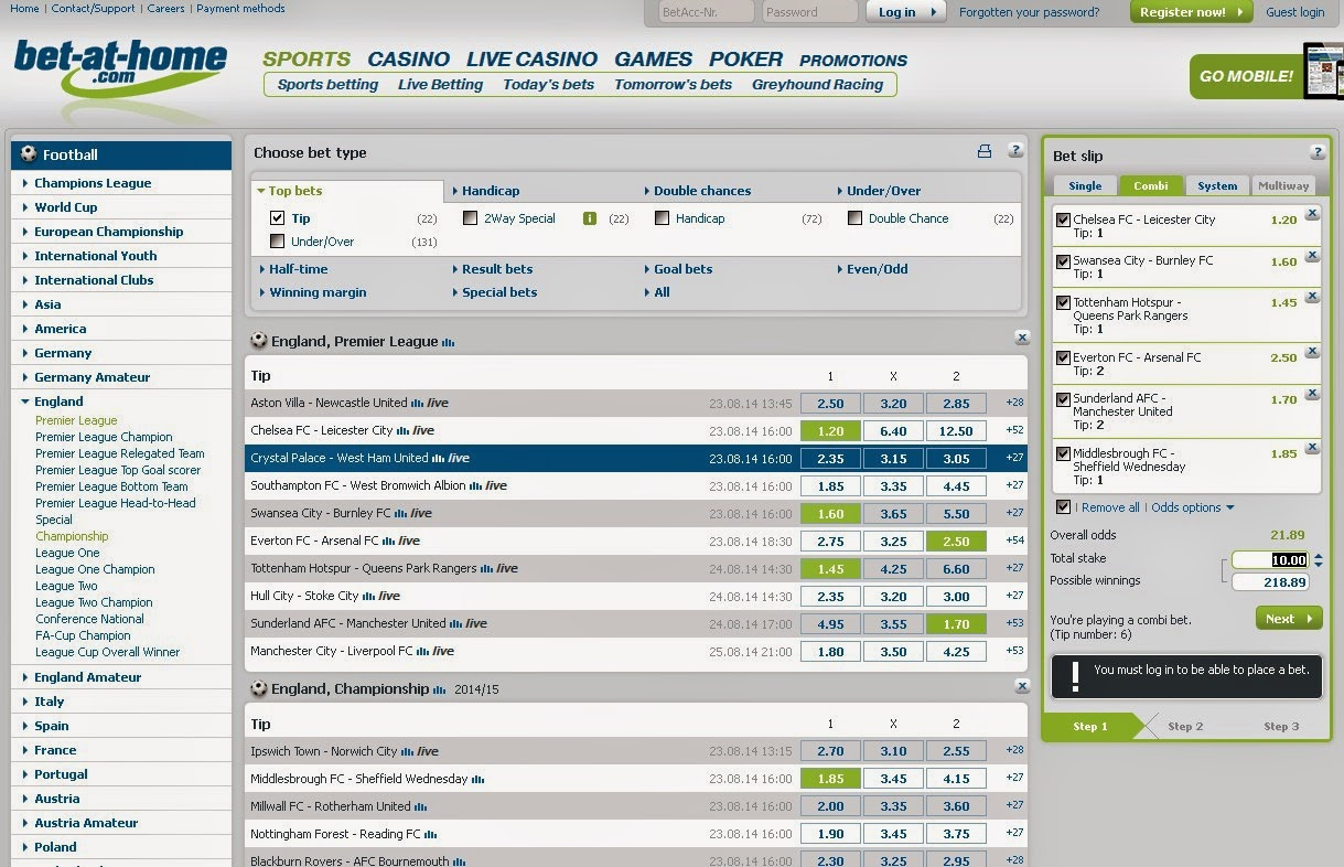 Bet-at-home Betslip Screen