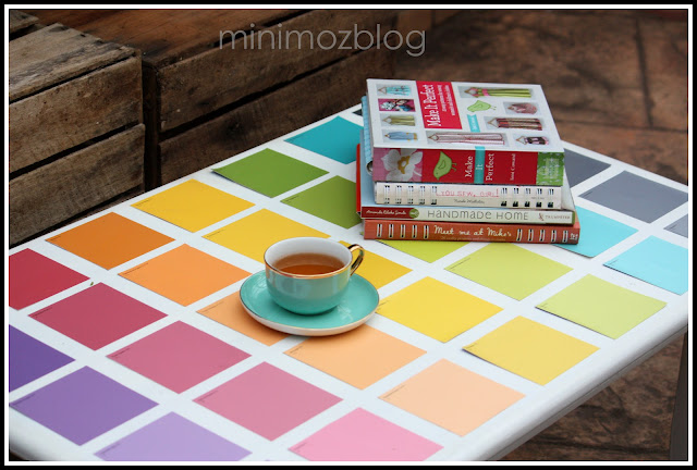 Paint Chip Sample Table Makeover - minimoz