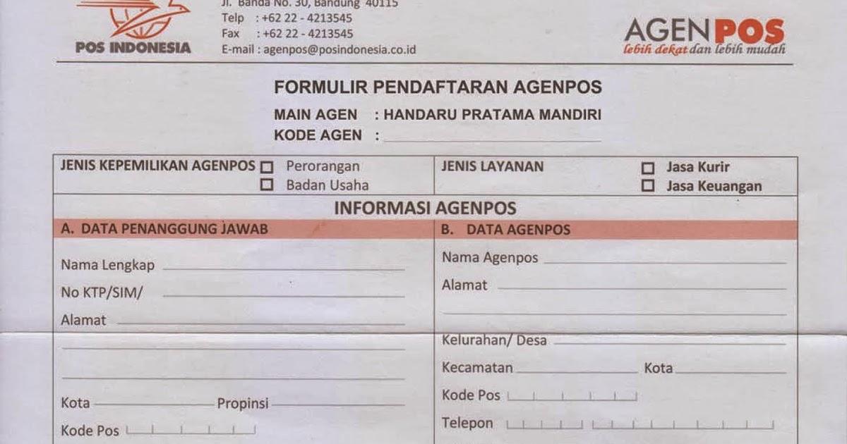 Agen Pos Indonesia Form Pendaftaran Agenpos