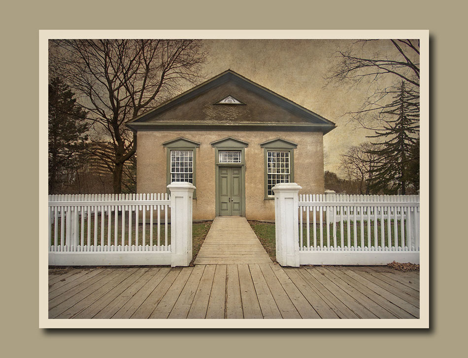 A view of the Fisherville Church at Black Creek Pioneer Village.  Holly Cawfield Photography