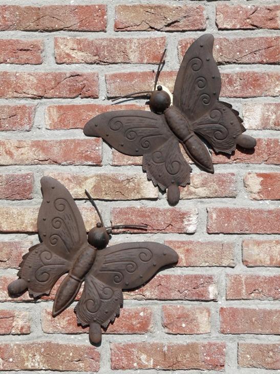 Ruedepol voor woonaccessoires en steigerhouten meubels op maat decoratieve vlinder metaal 30cm - Buiten muur kraan decoratieve ...