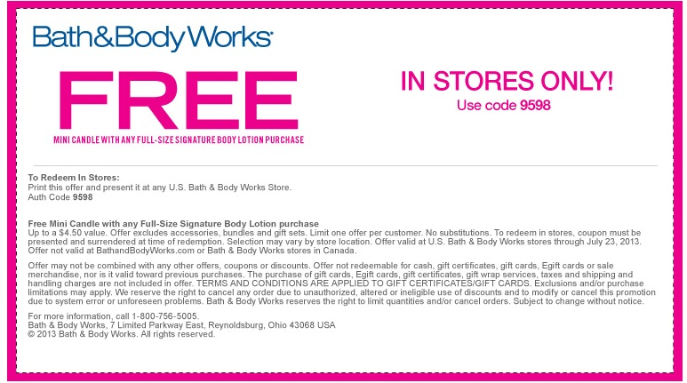 in store coupons for bath and body works