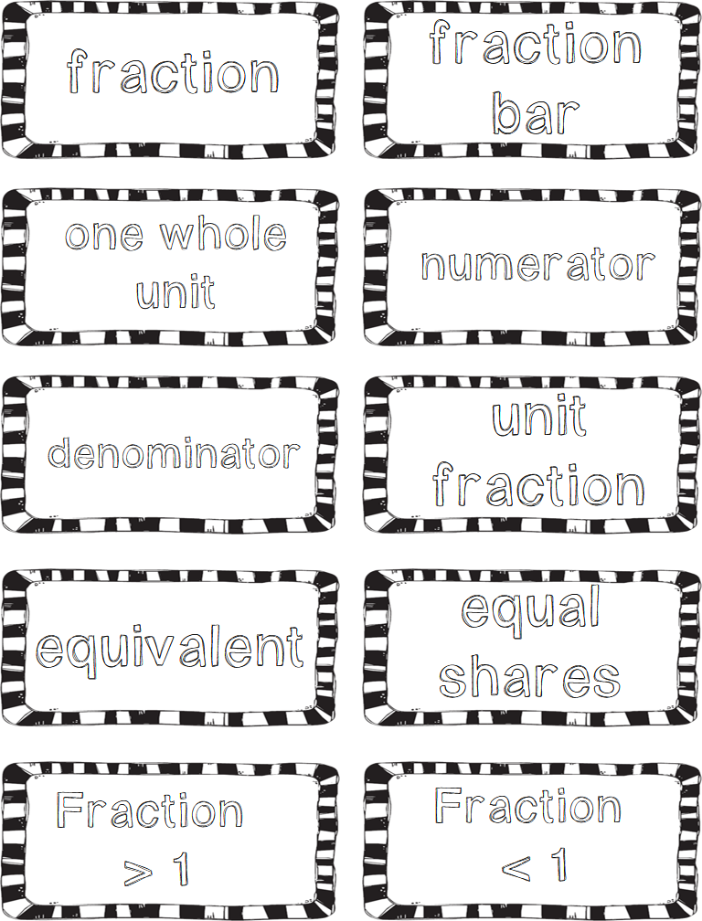 fractions vocabulary and freebies third grade doodles. Black Bedroom Furniture Sets. Home Design Ideas