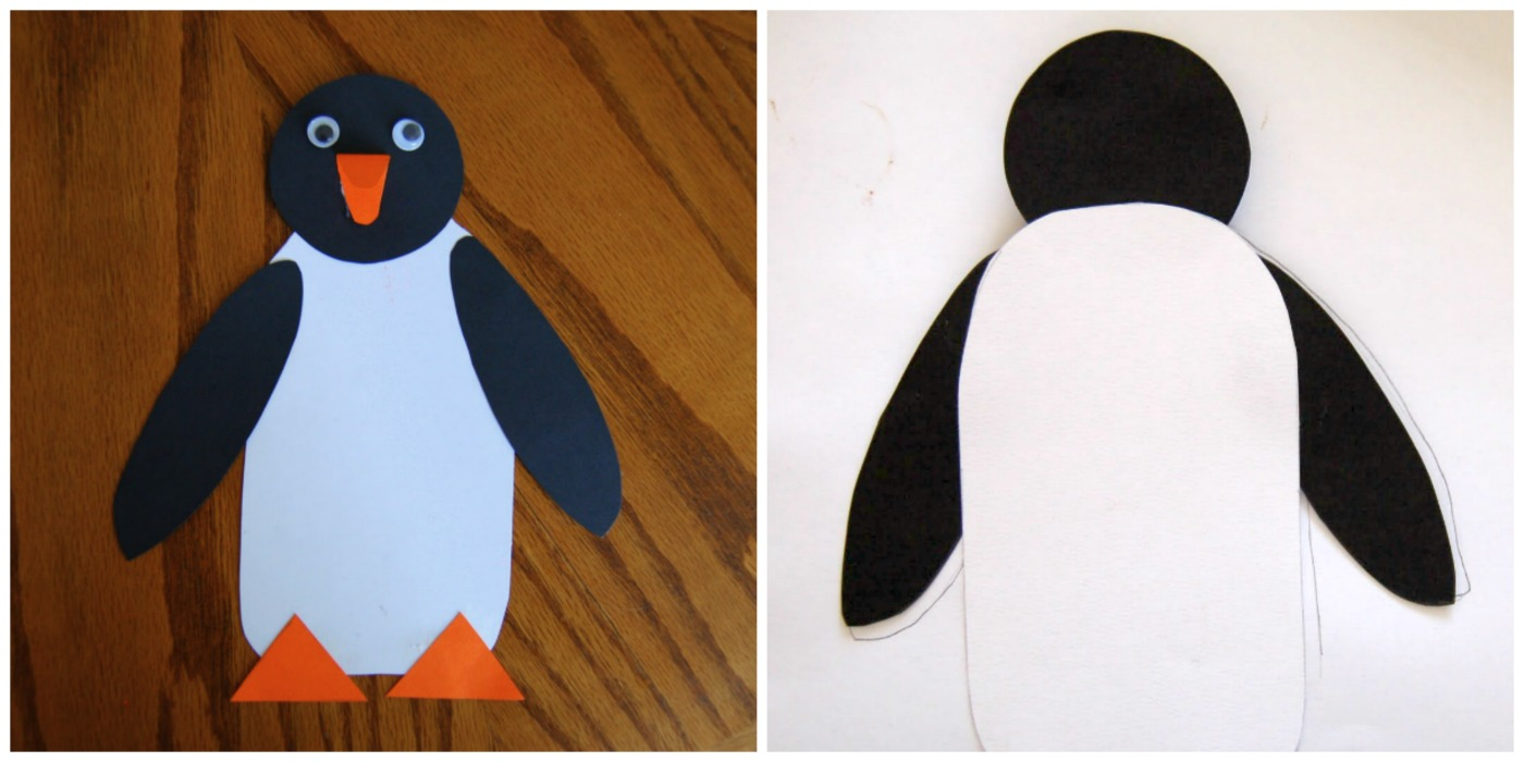 ... penguin face down on the back side of the scrapbook paper and traced