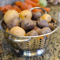 Raw White and Purple Potatoes