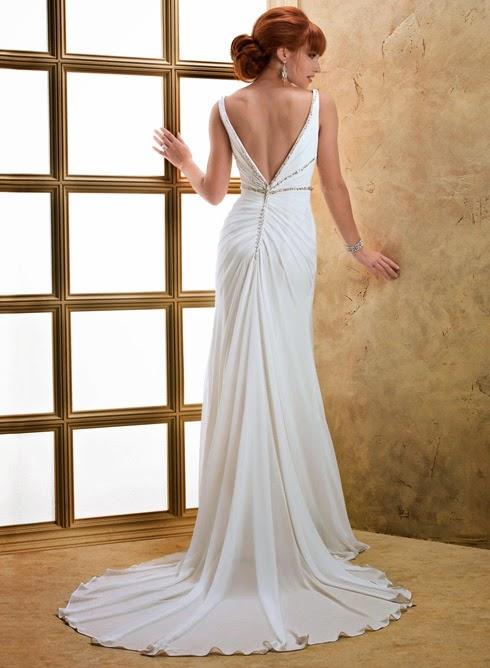 Schlichtes Chiffon Brautkleid, Hochzeitskleid fliessend rückenfrei.