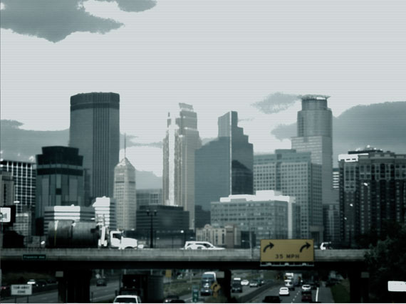 traffic camera style view of the Minneapolis skyline