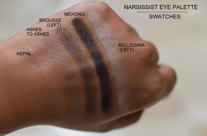 NARS Narsissist Eyeshadow Palette Swatches Nepal Ashes to Ashes Brousse Mekong Bellissima Indian darker skin beauty makeup blog
