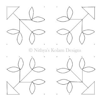 4 Flower and Leaf kolam dots 8 x 8