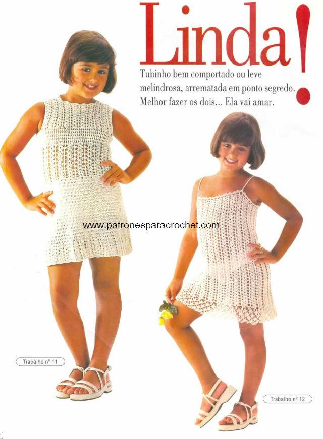 2 Modelos Vestidos Crochet para Niñas / patrones en pdf | Patrones ...