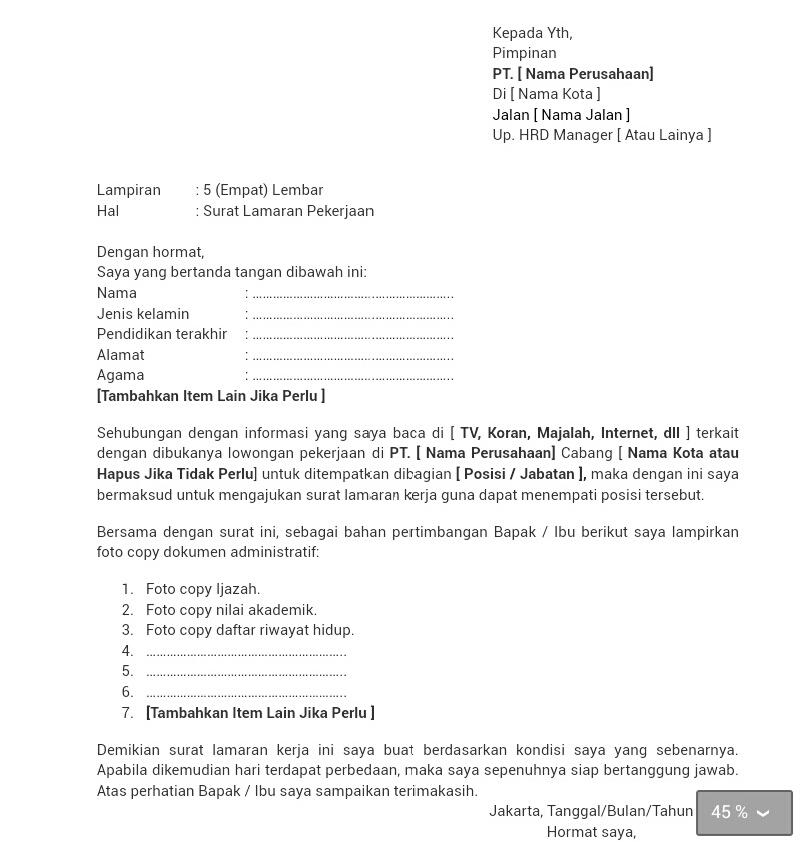 Ben Jobs Contoh Surat Lamaran Kerja Kepala Toko