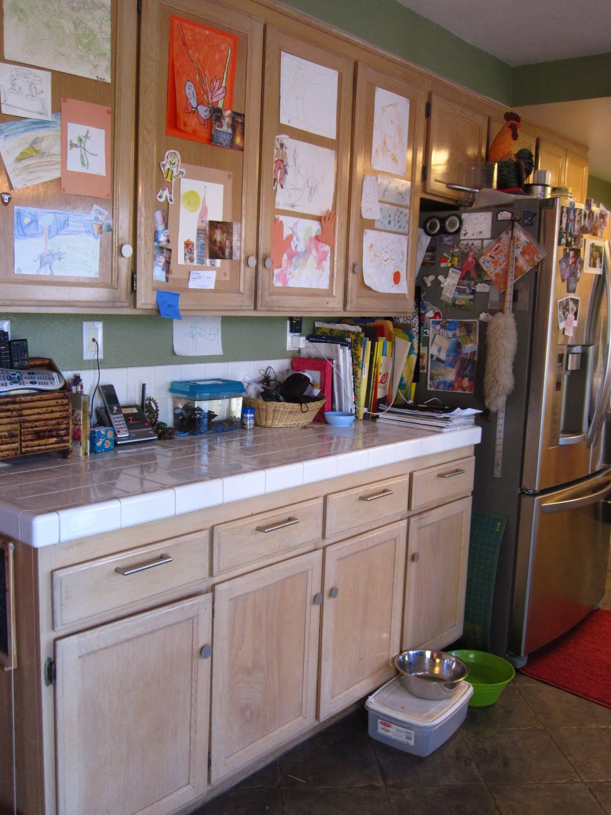 The curious pebble project kitchen makeover part i for White pickled kitchen cabinets