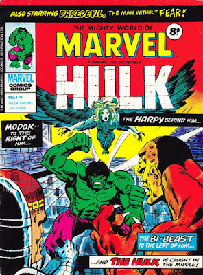 Mighty World of Marvel #174, Hulk vs Harpy