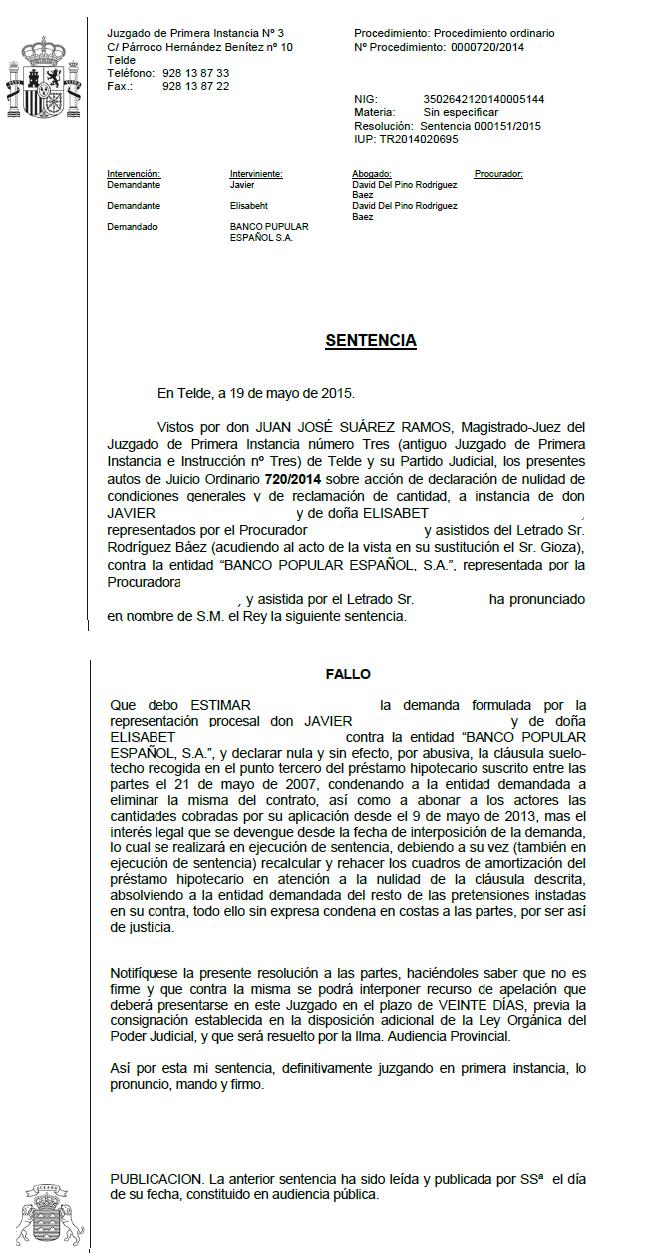 Otra sentencia ganada por nuestros abogados eliminando la for Clausula suelo banco popular