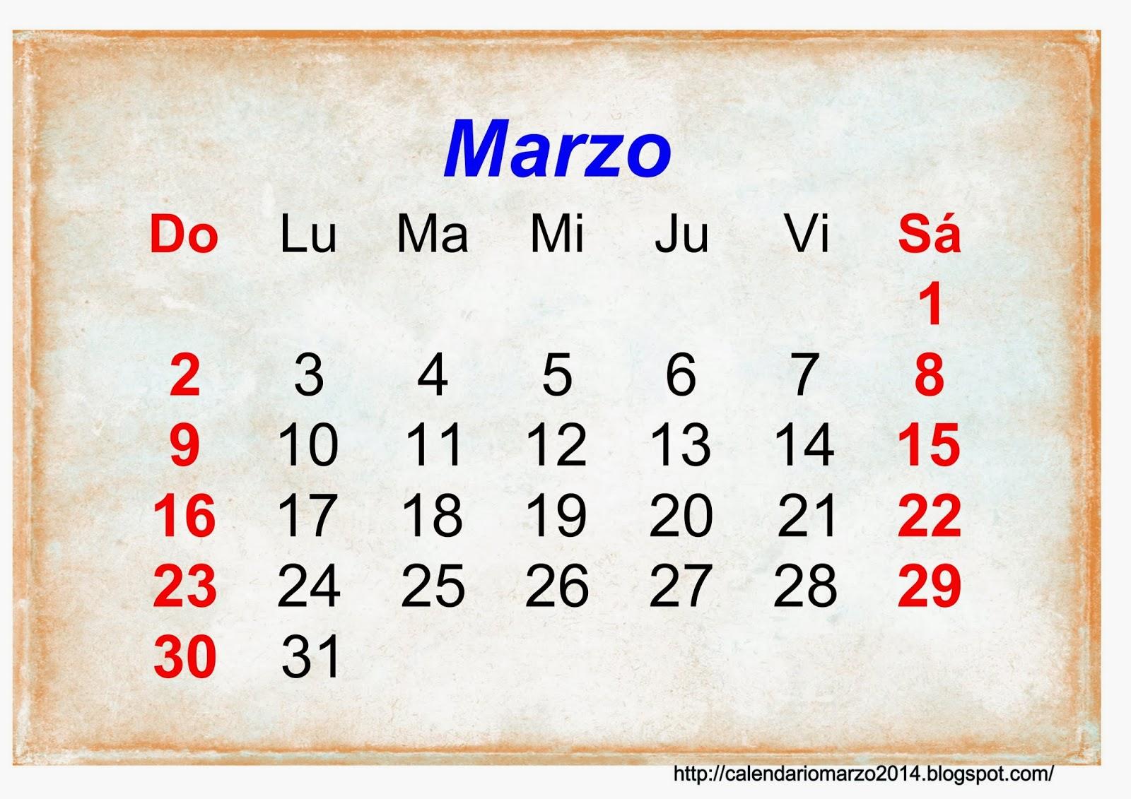 Calendario Marzo 2014 para imprimir gratis