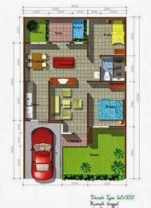 Denah Rumah Minimalis Type 60 1 Lantai Ruang Maksimal