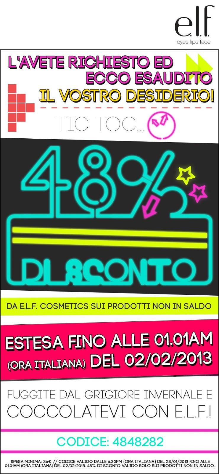 E.L.F. - Sconti 48% su tutti i prodotti non in saldo fino al 02/02/2013