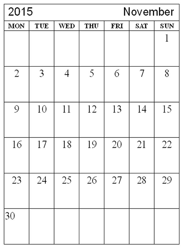 Free Calendar Printables November : Free printable calendar november