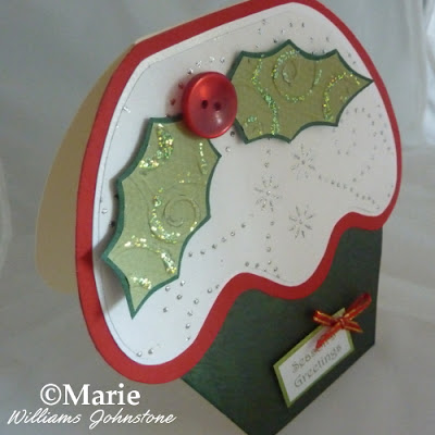 Green, red and white cupcake shaped card in festive colors