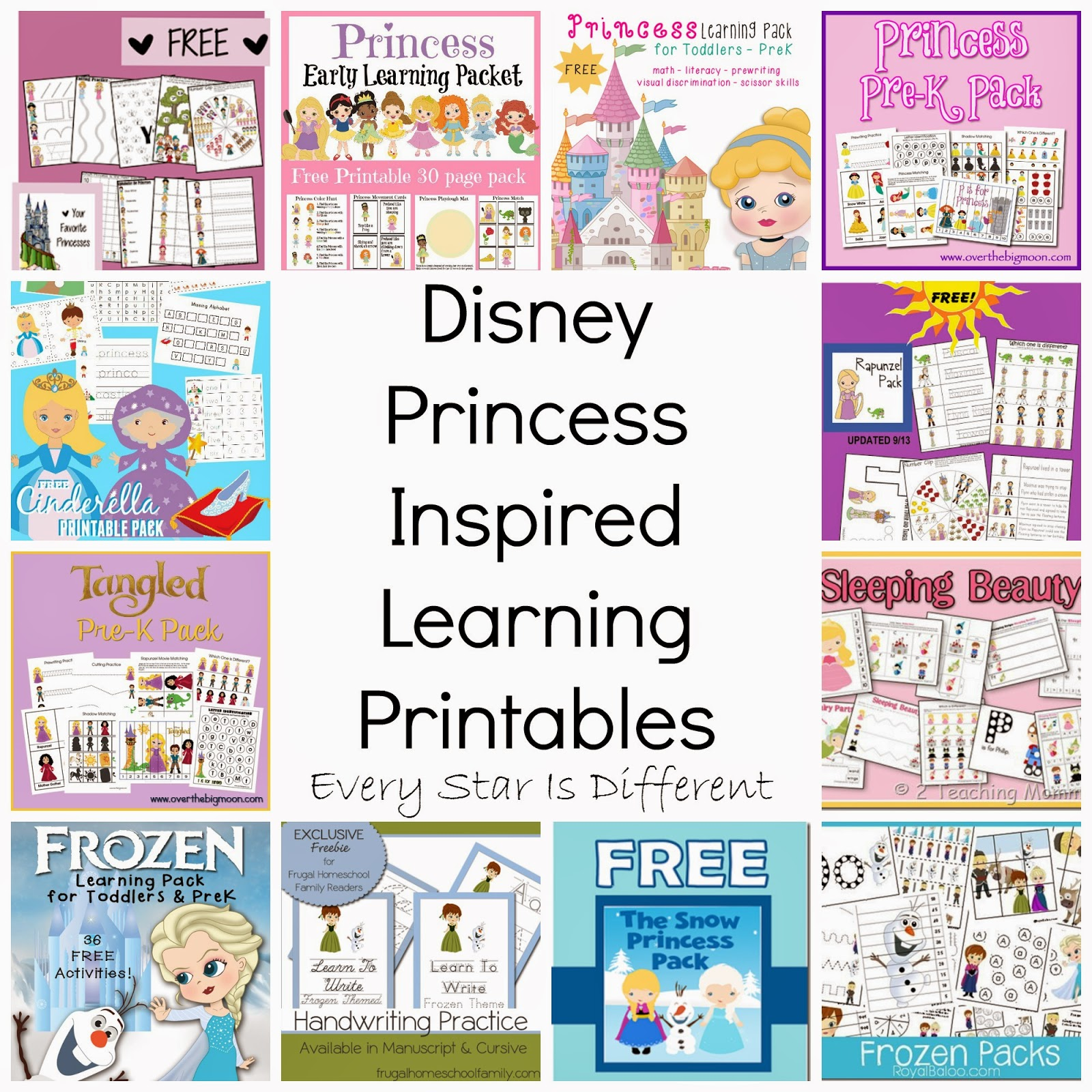 free disney inspired learning printable packs activities