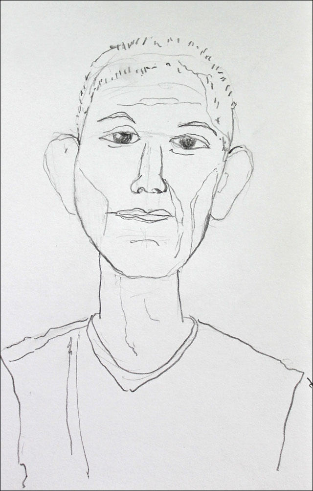 drawing of a young man